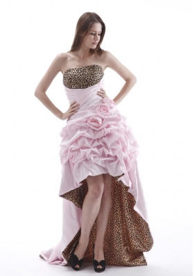 High-low Prom Dress With Hand Made Flowers and Pick-ups Baby Pink Leopard