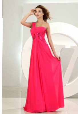 One Shoulder Chiffon Hot Pink Empire Floor-length Prom Dress