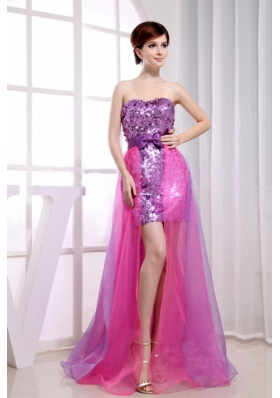 Paillette Over Skirt Beading Stylish Organza And Sequins Strapless Column Prom Dress Fuchsia
