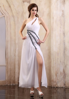 One Shoulder Prom Dress With Beaded and High Slit  Ankle-length Chiffon