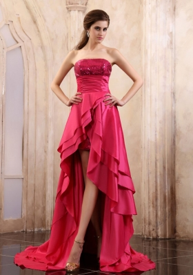 High-low Prom Dress With Sequin Coral Red Elastic Woven Satin