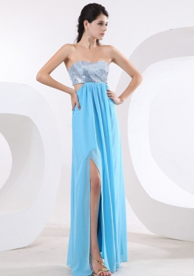 Special Prom Dress With Sequin Bodice High Slit and Floor-length