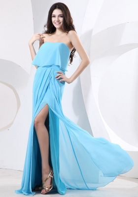 Strapless and High Slit For Prom Dress With Baby Blue and Brush Train