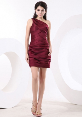 One Shoulder Wine Red and Ruch For Short Prom Dress