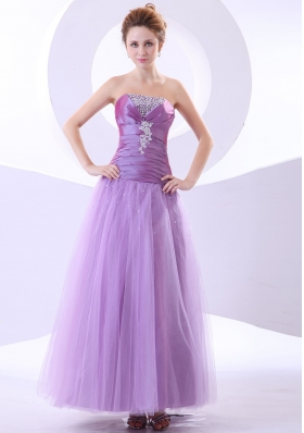 Beading and Appliques Decorate Bodice Taffeta and Tulle Ankle-length 2013 Prom Dress