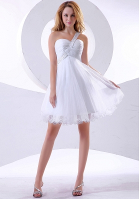 Beading Decorate One Shoulder Organza Knee-length 2013 Prom Dress