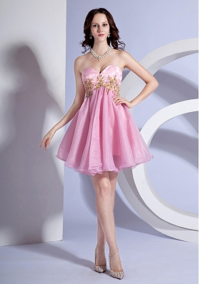 Appliques Decorate Bodice Sweetheart Neckline Pink Organza Mini-length 2013 Prom Dress