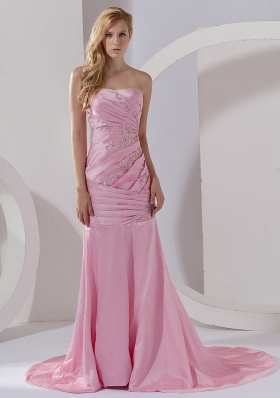 Mermaid Strapless Taffeta Prom Dress Pink Court Train Beading