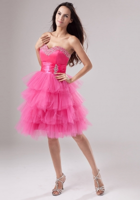 Lovely Pink Prom Dress Ruffled Layeres Sweetheart Beading and Ruch In 2013