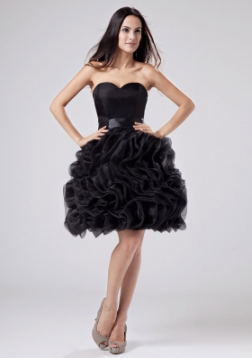 Sweetheart A-Line Prom Dress Organza Ruffles Knee-length Black
