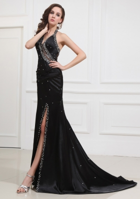 Beading Halter Brush/Sweep Prom Dress Elastic Woven Satin Column Black