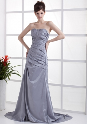 Beading Decorate Bust Grey Taffeta Brush Train 2013 Prom Dress