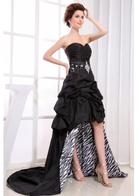 Black High-low Prom Dress With Sweetheart Beaded Pick-ups For Custom Made