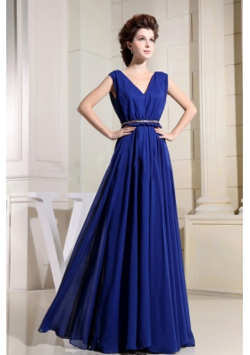 Royal Blue Prom Dress With V-neck Chiffon