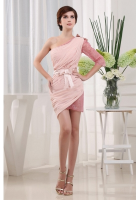 Popular Baby Pink 2013 Prom Dress With One Shoulder Mini-length