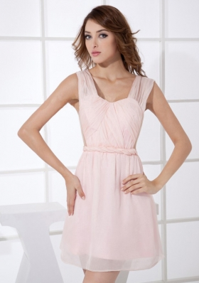 Light Pink Straps Mini-length Empire Mini-length 2013 Prom Dress