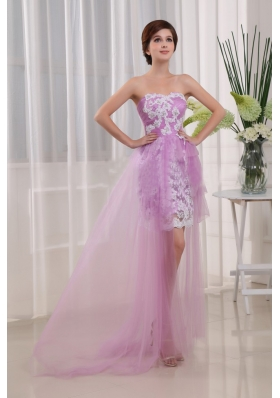 Appliques Column Strapless Lavender Tulle Brush/Sweep Prom Dress