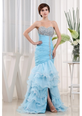Beautiful Baby Blue Beaded Decorate and Ruch Ruffled Layeres Sweetheart Prom Dress For Party