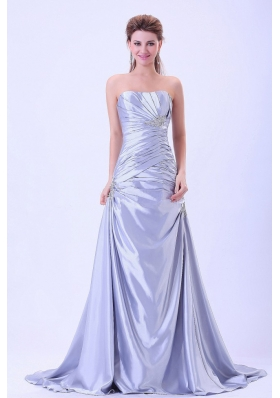 Custom Made For 2013 Prom / Evening Dress Silver A-line Ruched and Appliques With Brush Train