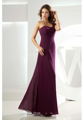 High Slit Beading One Shoulder Burgundy Column Bridesmaid Dresses