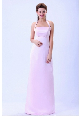 Halter Column Baby Pink For 2013 Bridemaid Dress Satin