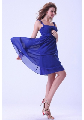 Royal Blue Prom / Homecoming Dress With Straps Knee-length Chiffon For Custom Made