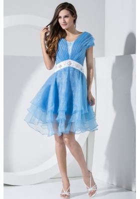 Baby Blue Prom Dress With Embroidery and Ruching V-neck Knee-length Short Sleeves