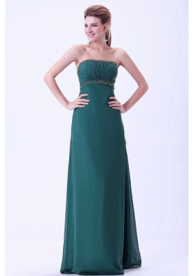 Green Prom / Evening Dress With Beading and Ruching Chiffon