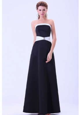 Black Bridesmaid Dressess A-line Satin Floor-length
