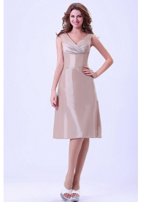 Champagne V-neck Bridesmaid Dresses With Knee-length