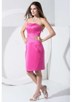 Hot Pink Knee-length Prom Dress For 2013 Strapless