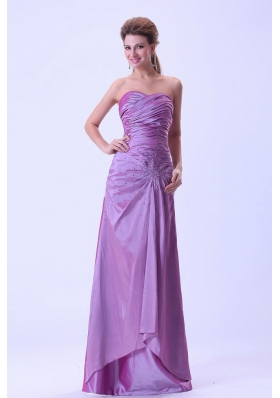 Lavender Prom Dress With Beaded and Ruched Sweetheart Floor-length For Custom Made
