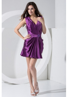Beading Decorate Bodice V-neck Mini-length 2013 Prom Dress For Formal Evening Purple