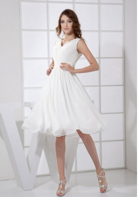 V-neck White Chiffon Knee-length Empire 2013 Prom Dress