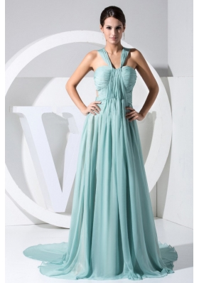 Ruch Decorate Bodice Straps Watteau Train Chiffon Light Blue 2013 Prom Dress