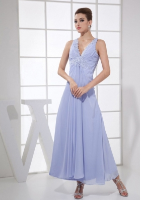 Appliques V-neck Lilac Chiffon Ankle-length 2013 Prom Dress