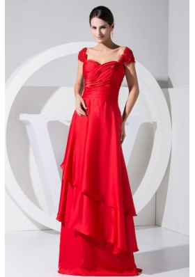 Beading and Ruch Decorate Bodice Red Column Brush Train Prom Dress For 2013