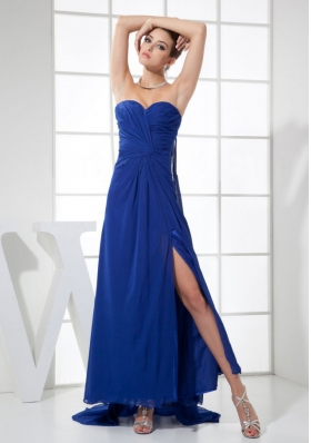 High Slit Sweetheart Neckline Watteau Train Blue Chiffon 2013 Prom Dress