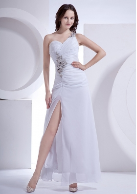 Beading Decorate One Shoulder and Wasit High Slit Ankle-length White Chiffon 2013 Prom Dress
