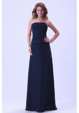 Navy Blue Strapless Bridesmaid Dresses Chiffon For Custom Made