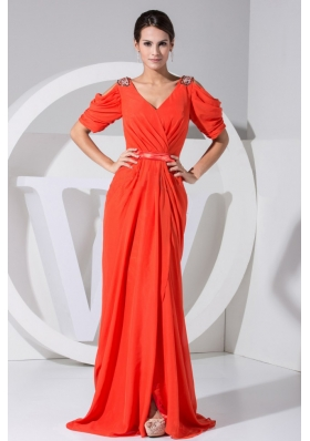 Beading Decorate Bodice V-neck Red Chiffon Brush Train Short Sleeves 2013 Prom Dress