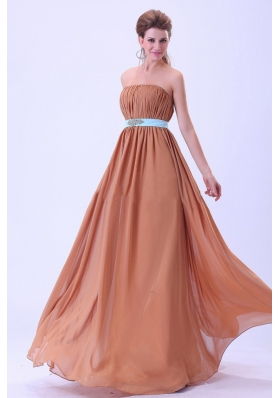 Rust Red Bridesmaid Dresses With Blue Belt and Ruching Chiffon Floor-length