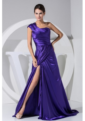 One Shoulder High Slit Purple Taffeta Brush Train 2013 Prom Dress