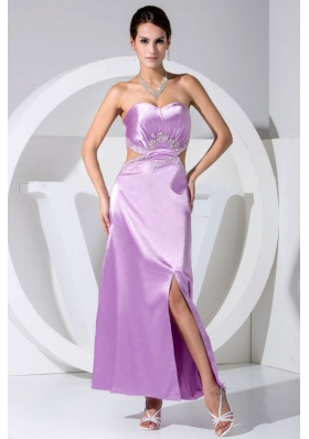 Beading Decorate Bodice High Slit Sweetheart Neckline Ankle-length Lavender Prom Dress 2013