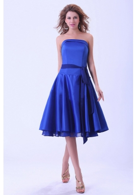Royal Blue Bridesmaid Dresses With Sash Tea-length Satin