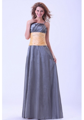Dark Grey Bridesmaid Dresses With Ruching Spaghetti Straps Floor-length