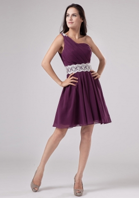 Dark Purple One Shoulder 2013 Prom Dress With Sash and Ruch Chiffon