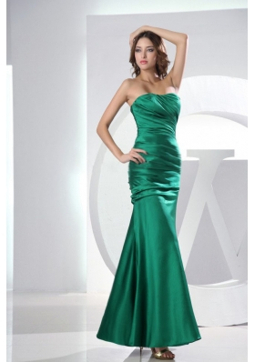 Mermaid Strapless Taffeta Green Ruched Ankle-length Prom Dress