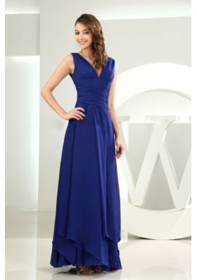 Column / Sheath V-neck Chiffon Royal Blue Ankle-length Prom Dress