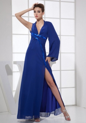 Sequins V-neck Ankle-length Blue Chiffon High Slit 2013 Prom Dress